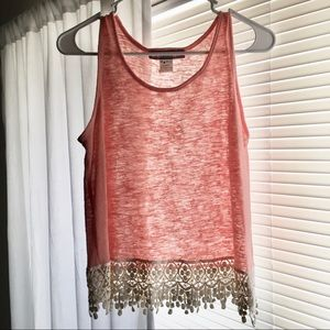 Pink and White Tank with Lace Trim